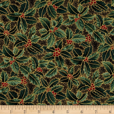 Berries and Blooms Metallic Holly Black/Gold Fabric