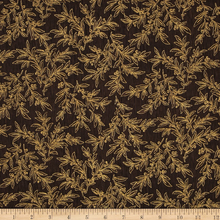 Berries and Blooms Metallic Mistletoe Brown/Gold Fabric
