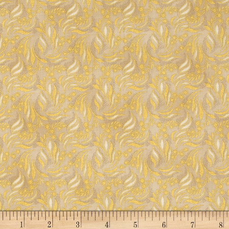 Berries and Blooms Metallic Packed Vine Cream/Gold Fabric