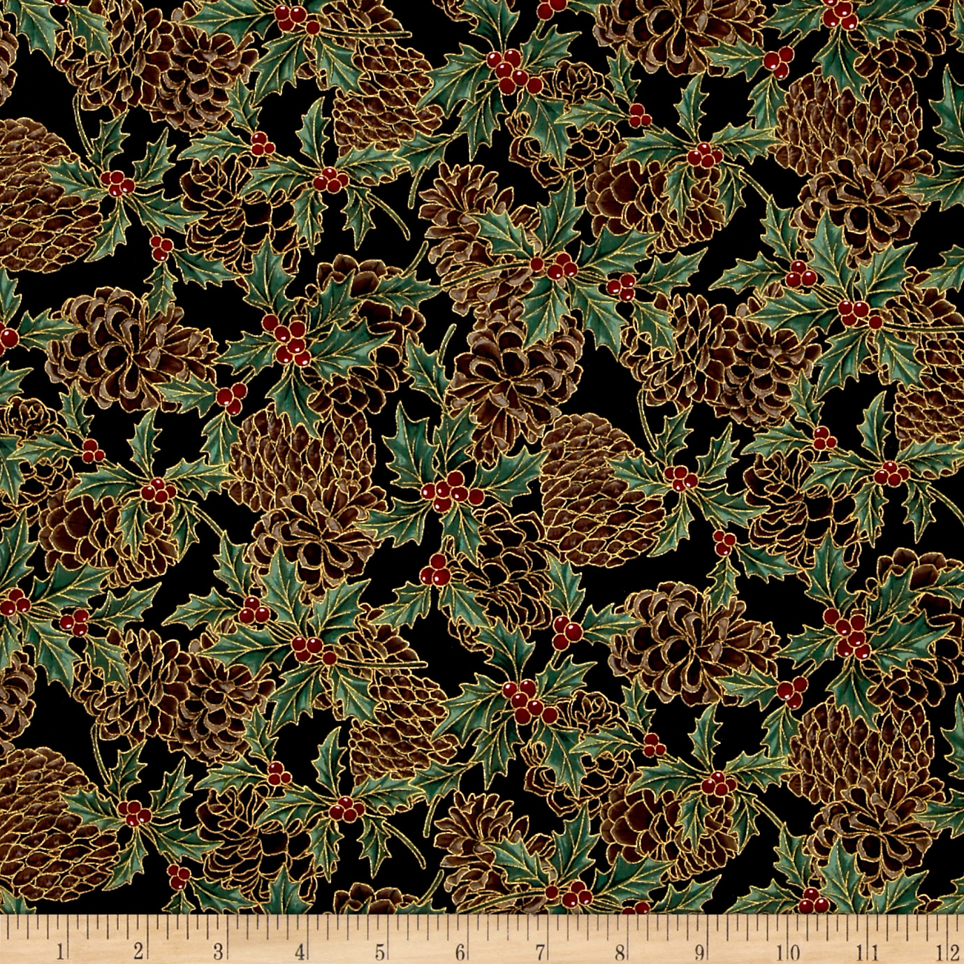 Berries and Blooms Metallic Pine Cones Black/Gold Fabric