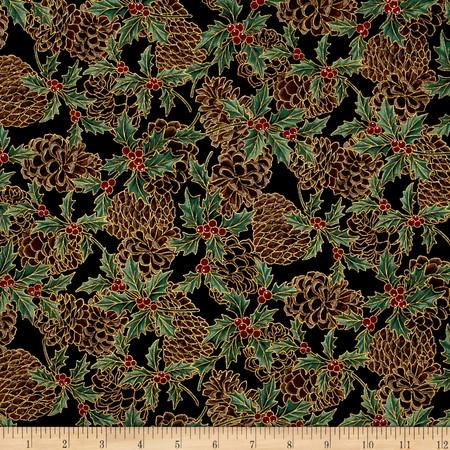 Berries and Blooms Metallic Pine Cones Black/Gold Fabric