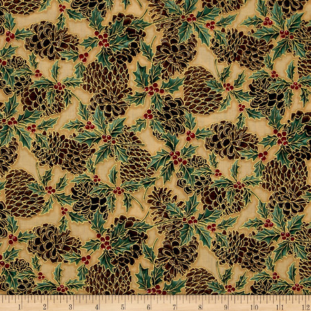 Berries and Blooms Metallic Pine Cones Cream/Gold Fabric