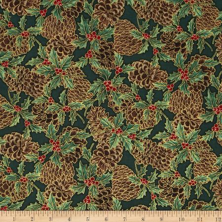 Berries and Blooms Metallic Pine Cones Mistletoe/Gold Fabric