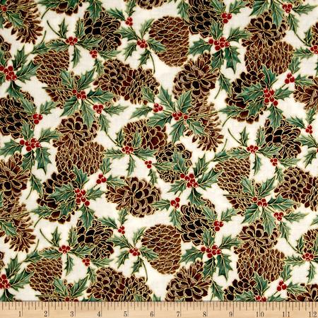 Berries and Blooms Metallic Pine Cones Natural/Gold Fabric