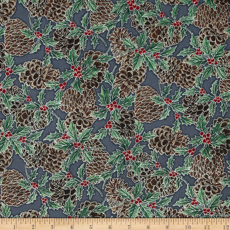 Berries and Blooms Metallic Pine Cones Storm/Silver Fabric
