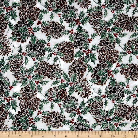 Berries and Blooms Metallic Pine Cones White/Silver Fabric By The Yard