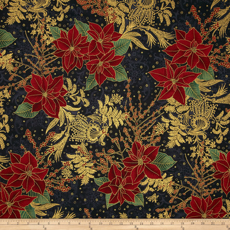 Berries and Blooms Metallic Poinsettia Bouquet Black/Gold Fabric