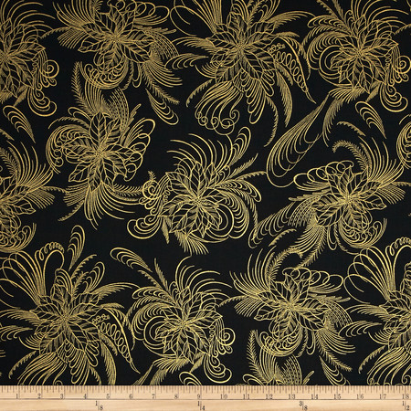 Berries and Blooms Metallic Poinsettia Outline Black/Gold Fabric