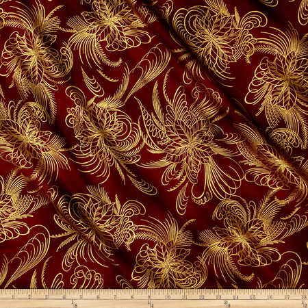 Berries and Blooms Metallic Poinsettia Outline Burgundy/Gold Fabric
