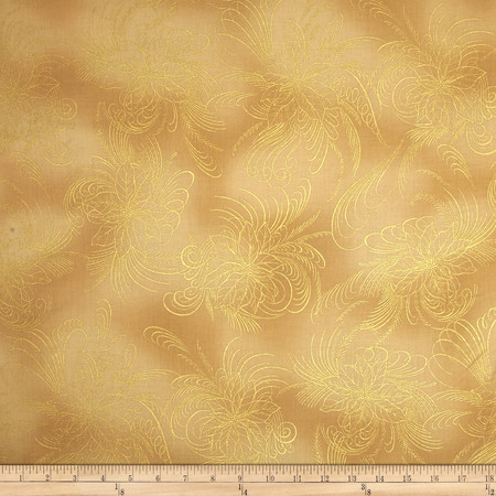 Berries and Blooms Metallic Poinsettia Outline Cream/Gold Fabric