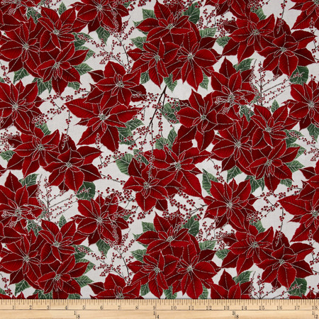 Berries and Blooms Metallic Poinsettias Ice/Silver Fabric