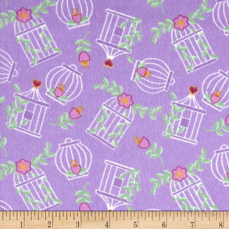 Birds Paradise Flannel Cages Lavender Fabric