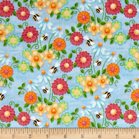 Birds n Bees Floral Blue Fabric