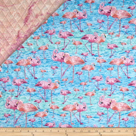 Birds of A Feather Double Sided Quilted Flamingos Pink Fabric