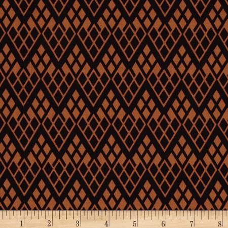 Black & Tan Chevron Trellis Black/Cognac Fabric