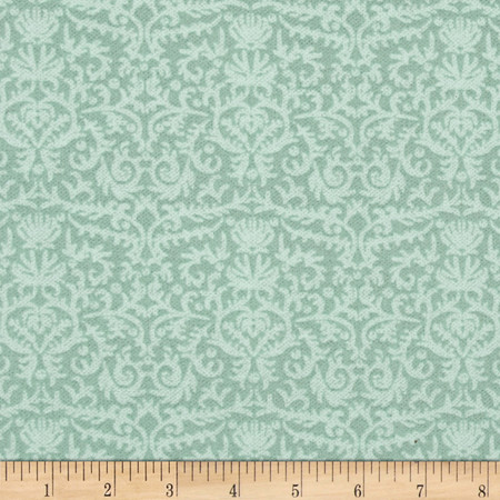 Blue Mer Sandy Damask Sage Fabric By The Yard