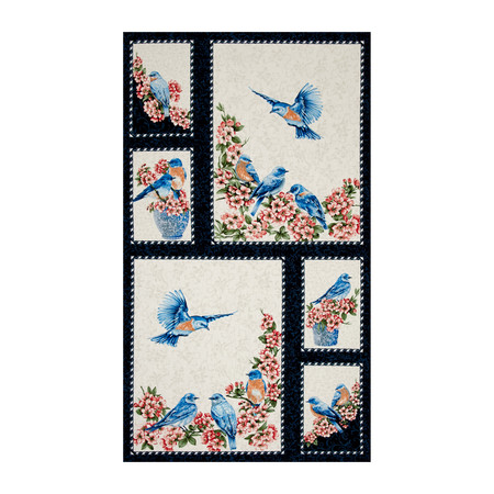 Bluebird Gathering 23'' Panel Blue/Cream Fabric By The Yard