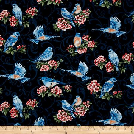 Bluebird Gathering Allover Bluebirds Blue Fabric By The Yard