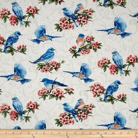 Bluebird Gathering Allover Bluebirds Cream Fabric By The Yard