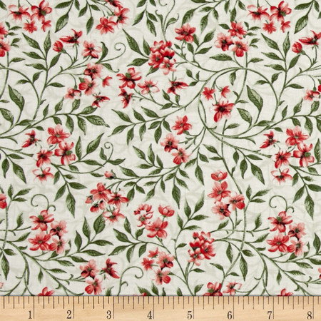 Bluebird Gathering Allover Flowers Cream/Pink Fabric By The Yard