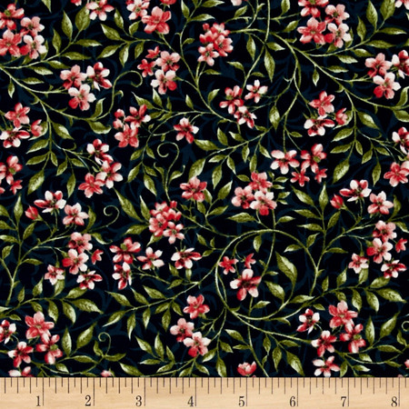 Bluebird Gathering Allover Flowers Navy/Pink Fabric By The Yard