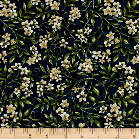 Bluebird Gathering Allover Flowers Navy/White Fabric By The Yard