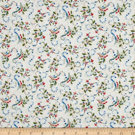 Bluebird Gathering Colorful Scroll Cream/Multi Fabric By The Yard