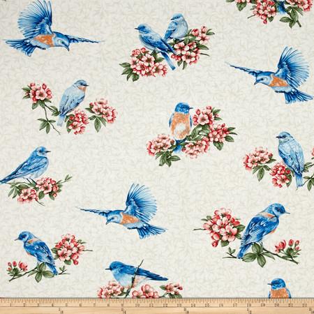 Bluebird Gathering Cutable Bluebirds Cream Fabric By The Yard