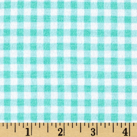 Bolt By Girl Charlee Desert Sky Jersey Knit Gingham Mint Fabric By The Yard