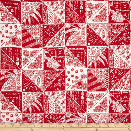 Bombay Diagonal Patch Red Fabric