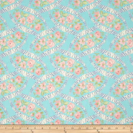 Bon Bon Bebe Floral Lattice Aqua Fabric