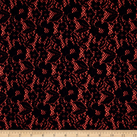 Bonded Lace Knit Coral/Navy Fabric By The Yard