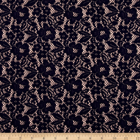 Bonded Lace Knit Rose Quartz Navy Fabric By The Yard