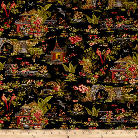 Botanica III The Scarlet Story Toile Black Fabric