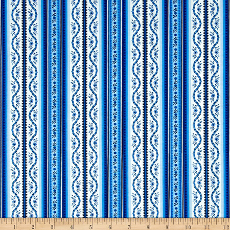 Botanica III The Royal Story Stripe White/Royal Fabric By The Yard