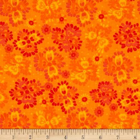 Bright Flowers Orange/Yellow Fabric