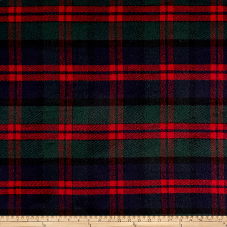 Brushed Wool Blend Coating Plaid Red/Navy/Green Fabric By The Yard