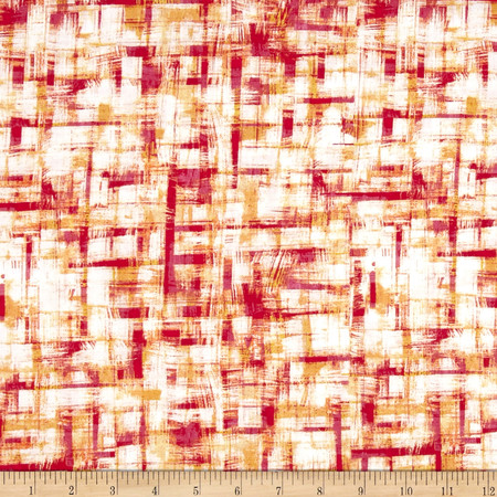 Brushstrokes Cream/Pink Fabric By The Yard