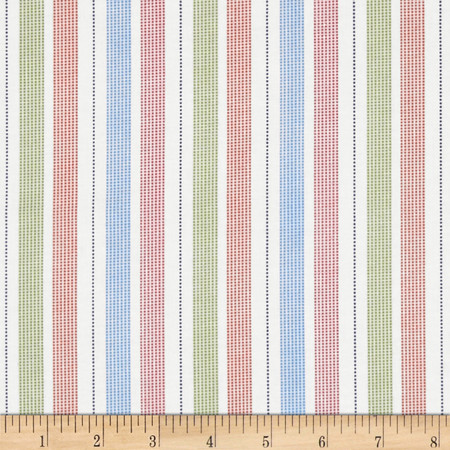 Buddy's Big Adventure Stripe White Fabric