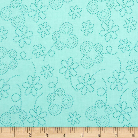 Bugsy Dot Floral Aqua Fabric By The Yard