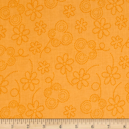 Bugsy Dot Floral Orange Fabric By The Yard