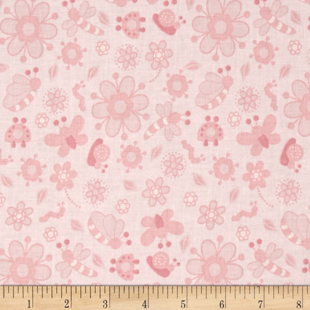Bugsy Tonal Bug Toss Pink Fabric By The Yard