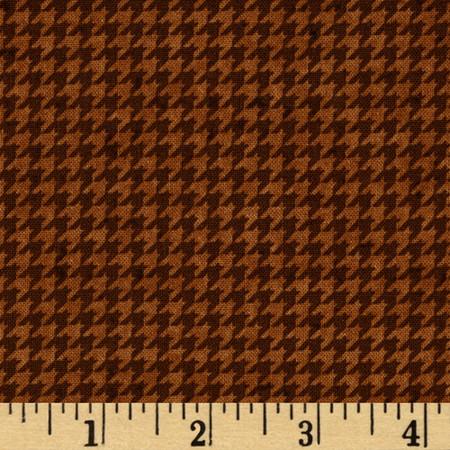Build Each Other Up Houndstooth Brown Fabric