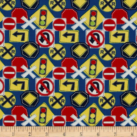 Bumper-2-Bumper Road Signs Blue Fabric