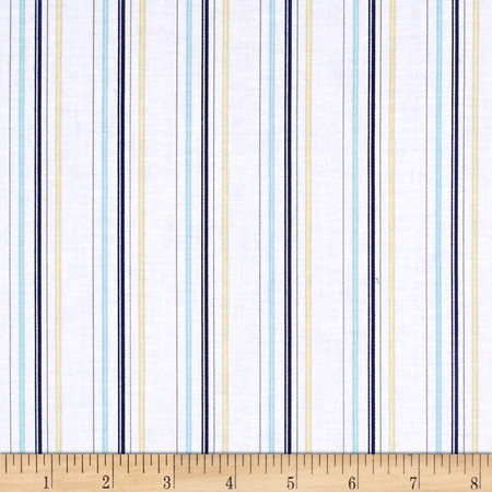 Buttercream Stripe Light Navy Fabric By The Yard