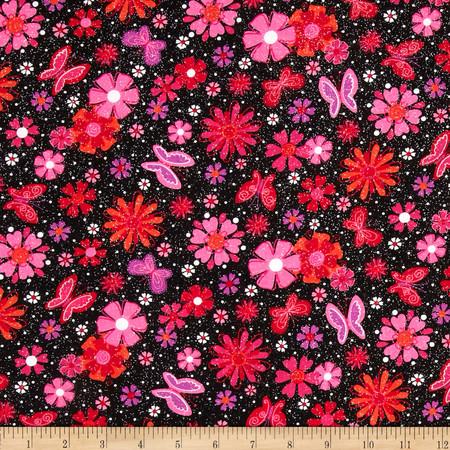 Butterflies & Flowers Black Fabric