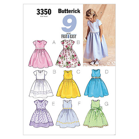 Butterick Children's/Girls' Dress Pattern B3350 Size 020