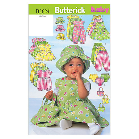 Butterick Infants' Dress Jumper Romper Jumpsuit Panties Hat and Bag Pattern B5624 Size LRG
