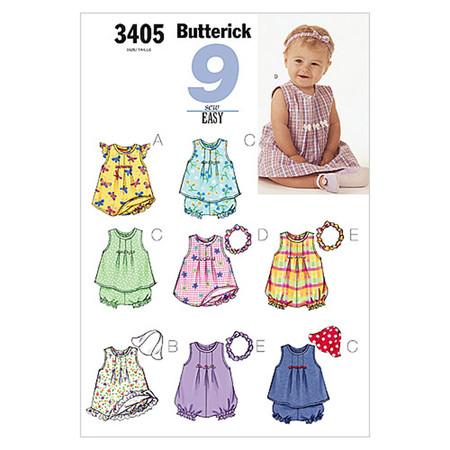 Butterick Infants' Dress Top Romper Panties Hat & Headband Pattern B3405 Size LRG