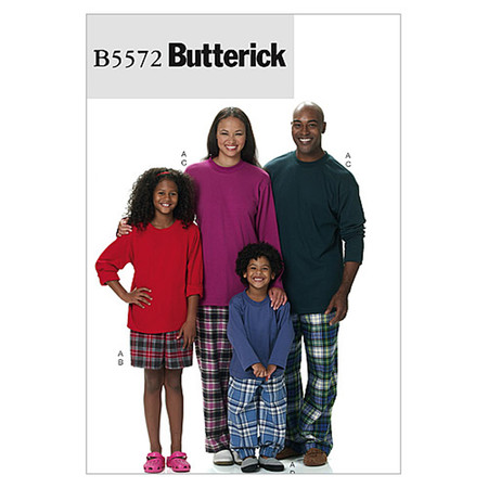 Butterick Misses'/Men's/Children's/Boys'/Girls' Top Shorts and Pants Pattern B5572 Size ADT